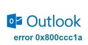 Outlook Error 0x800ccc1a